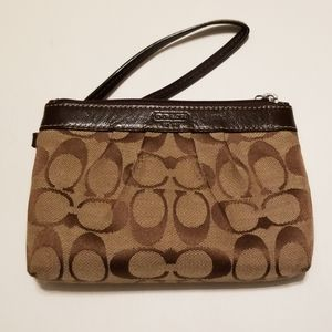 COACH Signature Brown Clutch with Strap